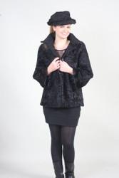 Black Swakara Lamb Fur Coat