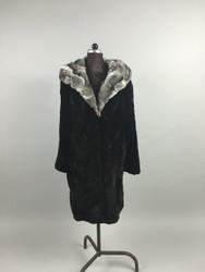 Black Sheared Beaver Fur Coat featuring a real chinchilla cobra hood