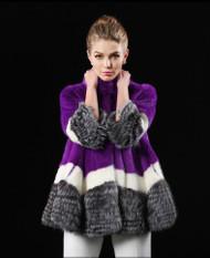 Colored Mink SAGA fur coat with silver fox Full Skin