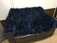 Navy blue fox fur blanket/throw