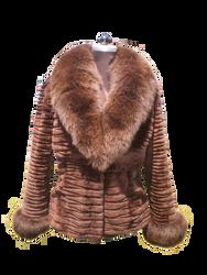 Sheared Beaver Fur Brown Jacket  Fox Collar & Cuffs