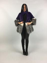 Violet Mink Saga Fur Coat With Silver fox /Fur jacket