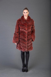 Red Racoon fur Coat