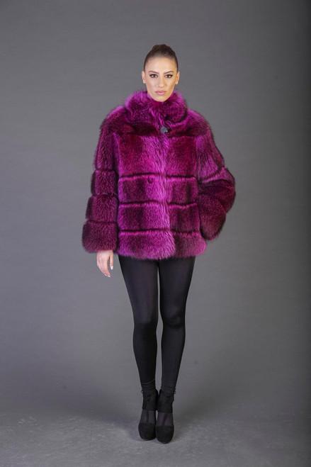fuchsia Racoon Fur coat