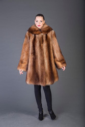 Tan brown Raccoon Fur stroller full skin