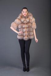Tan  Hooded  Short  Sleeved Racoon  Fur coat