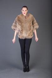 Tan Feathered Raccoon  Fur coat full skin
