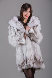 Blue  Fox Fur Coat Knee Length Front View
