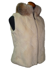 Beige Beaver Fur Vest Crystal Fox Collar