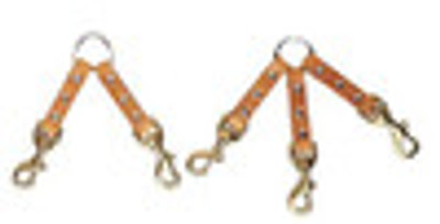 3 Dog Leather Coupler with Brass Snaps