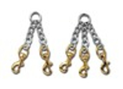 3 Dog Chain Coupler with Brass Snaps