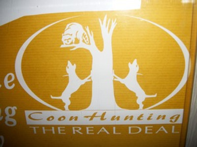 """""""Coon Hunting the Real Deal"""" Window Decal"""