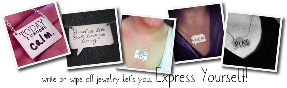 Write on wipe off jewelry