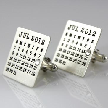 Mark Your Calendar Cuff Links with Crystal Date Highlight