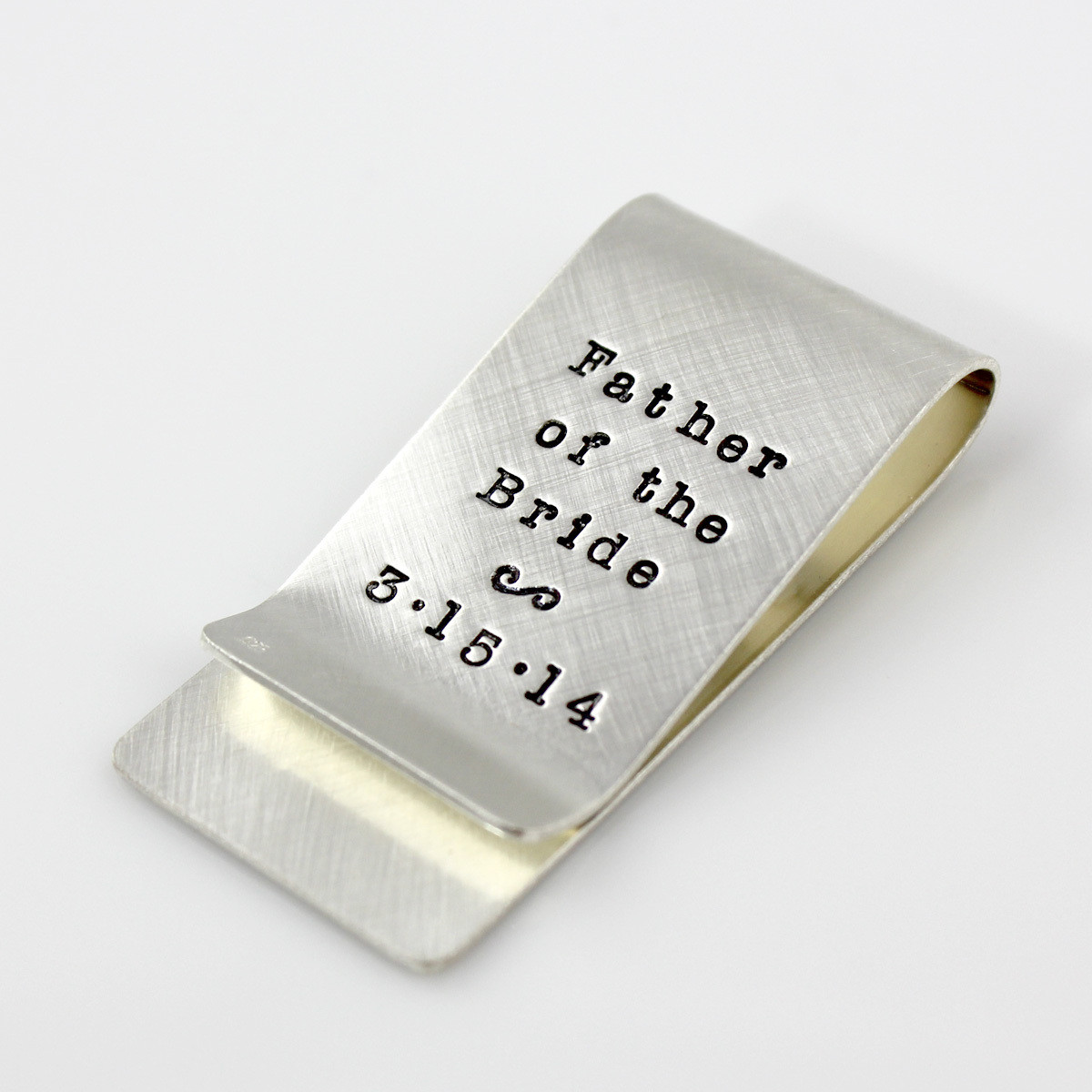 Mark Your Calendar Money Clip with vertical stamping on back