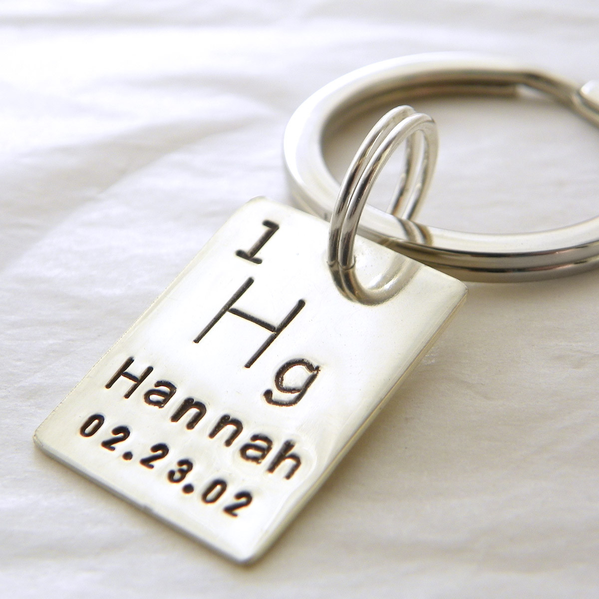 Personalized periodic table atomic element sterling silver key chain personalized periodic table atomic element hand stamped sterling silver key chain gamestrikefo Image collections