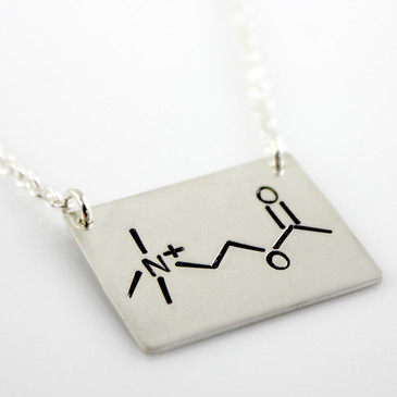 Acetylcholine Molecule Hand Stamped Sterling Silver Necklace