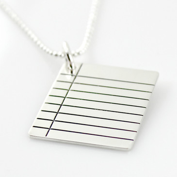 Binder Paper Sterling Silver Necklace