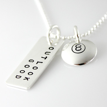 Magic 8 Ball Inspired Sterling Silver Necklace
