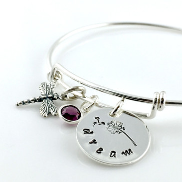 Dandelion and Dragonfly Dream Simply Charming Bangle Bracelet