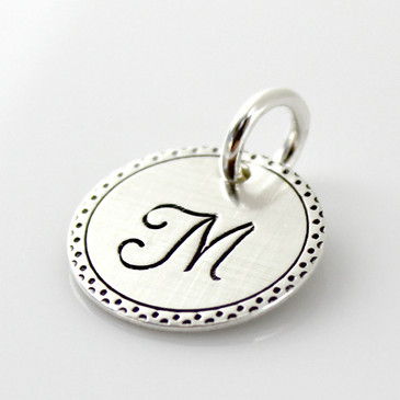 Fancy Border Initial Disc with Double Dot Border