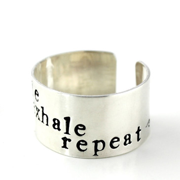 Sterling Cuff Ring - inhale exhale repeat