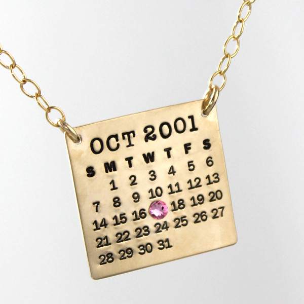 Mark Your Calendar Necklace Top Hang - Gold Filled