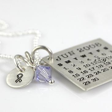 Mark Your Calendar Necklace with Awareness Ribbon