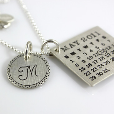 Mark Your Calendar Necklace with Fancy Border Initial Charm