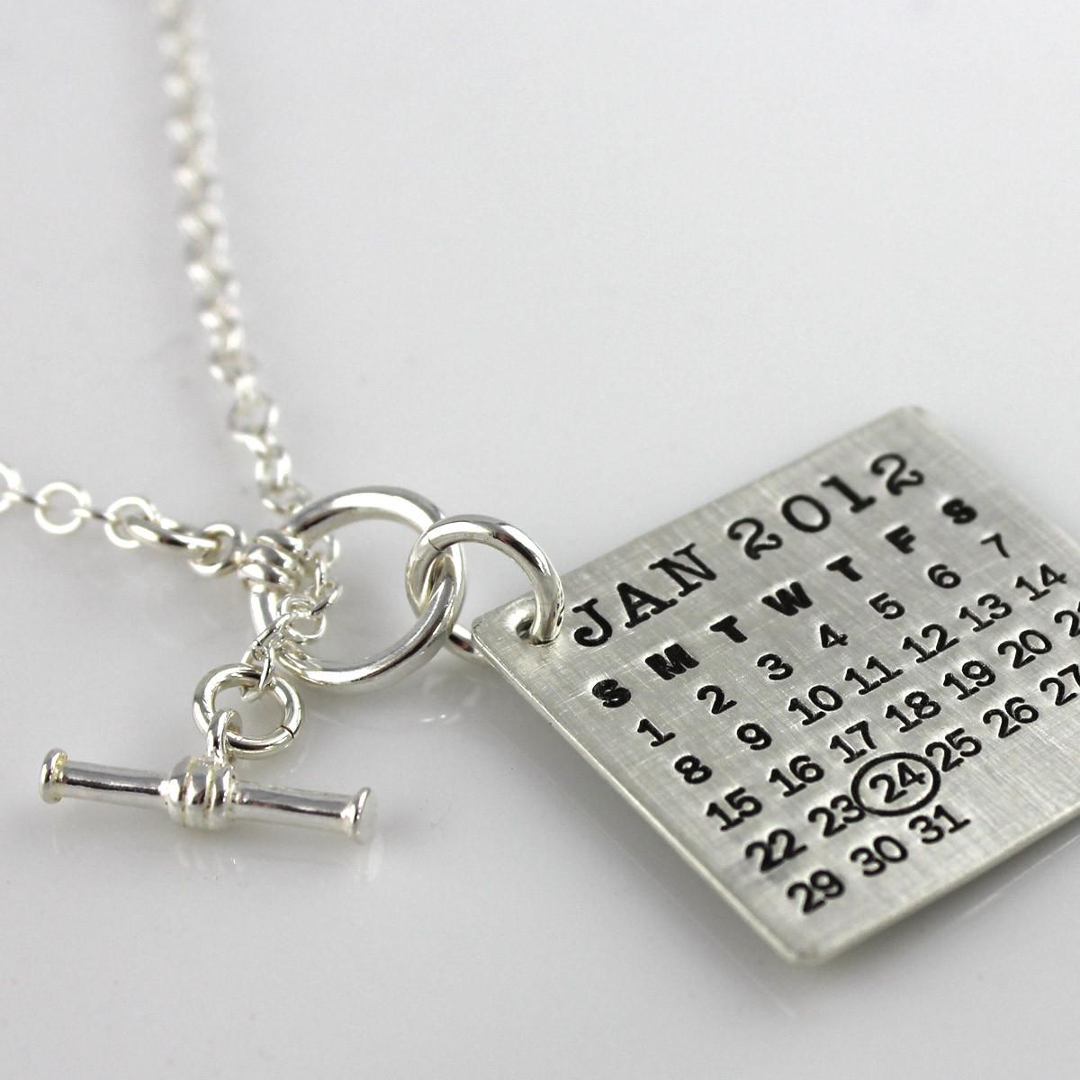 calendar necklace toggle clasp