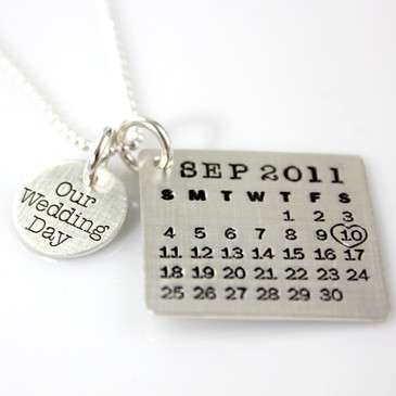 Mark Your Calendar Necklace with Our Wedding Day Charm