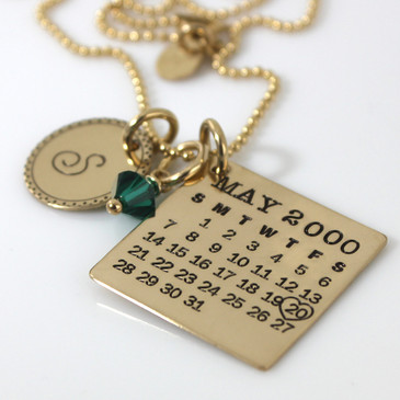 Mark Your Calendar Necklace with Fancy Initial Charm - Gold Filled