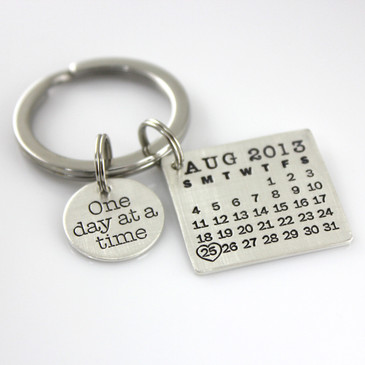 Mark Your Calendar Key Chain with 'One day at a time' Charm