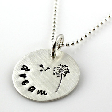 Dandelion Dream hand stamped sterling necklace