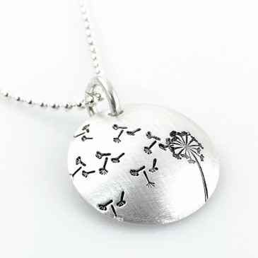 Dandelion hand stamped sterling necklace