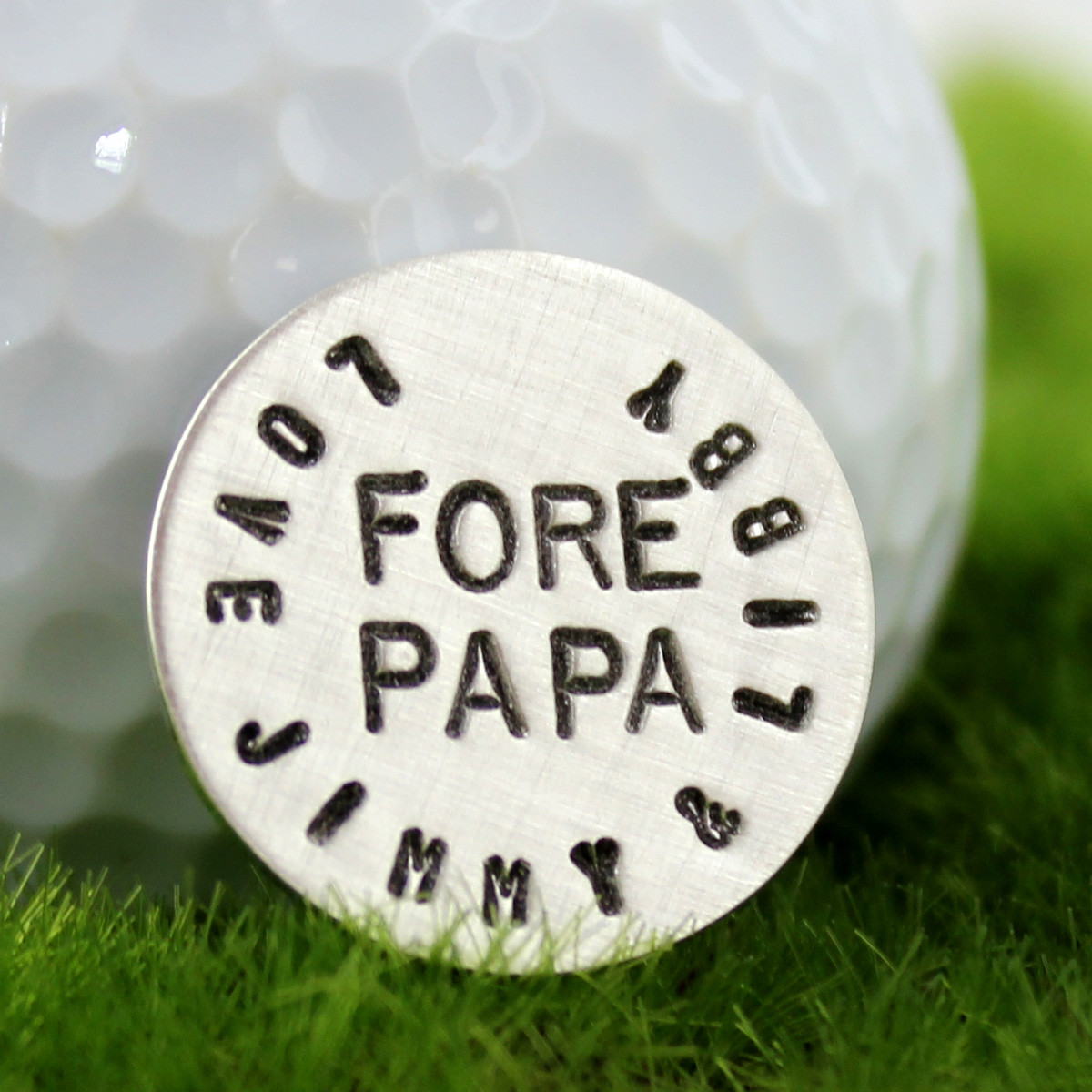 Fore Papa Handstamped Sterling Golf Marker
