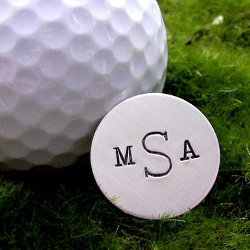 Monogrammed Handstamped Sterling Golf Marker