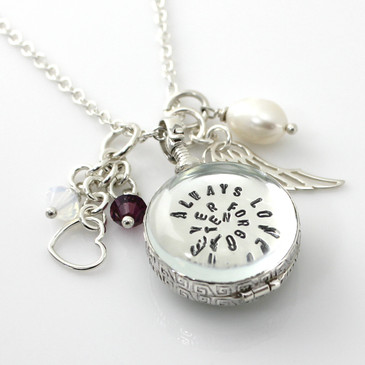 Simply Charming Memorial Glass Locket Personalized Necklace