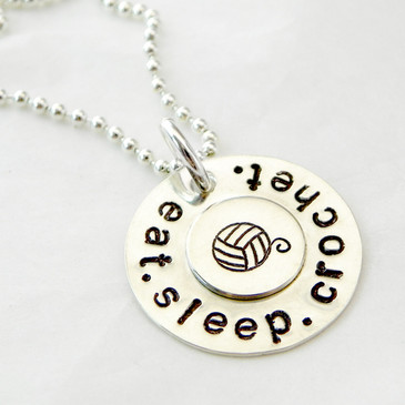 Eat. Sleep. Crochet. Necklace