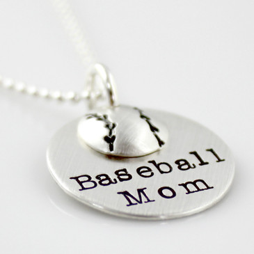 Baseball Mom Stack sterling silver necklace