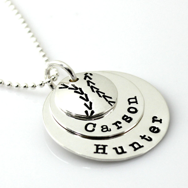 Baseball Sweet Stack hand stamped and personalized necklace