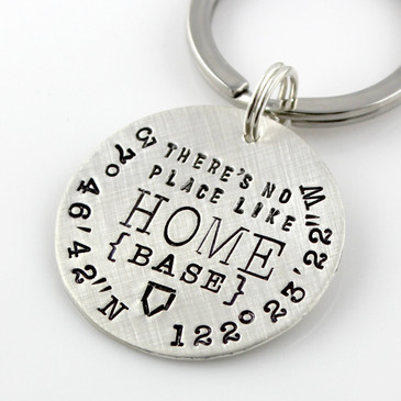 There's No Place Like Home {Base} personalized sterling key chain