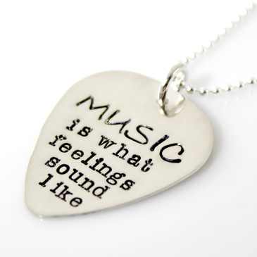 Guitar Pick Musical Quote Necklace