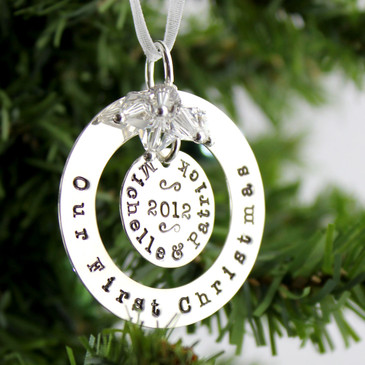 Our First Christmas Personalized Sterling Silver Ornament Keepsake