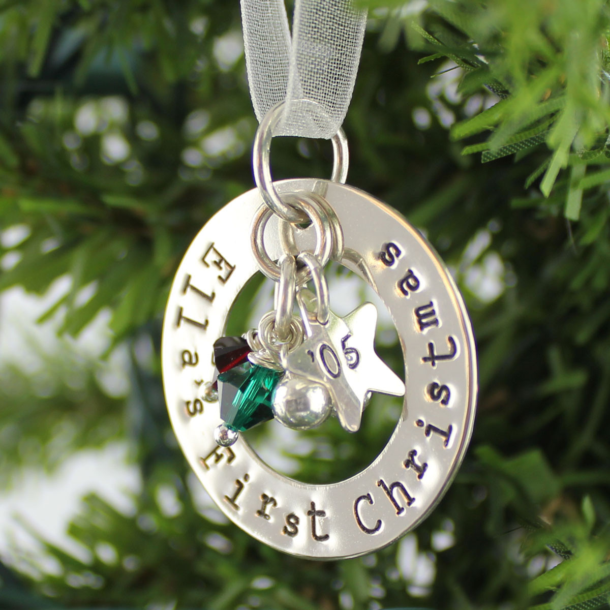 Personalized first christmas ornament keepsake sterling for Customized photo christmas ornaments