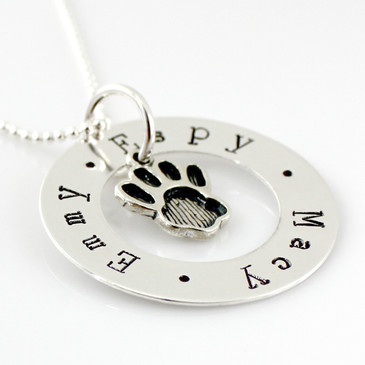 Love Circle Personalized Washer Necklace with Paw Print Charm
