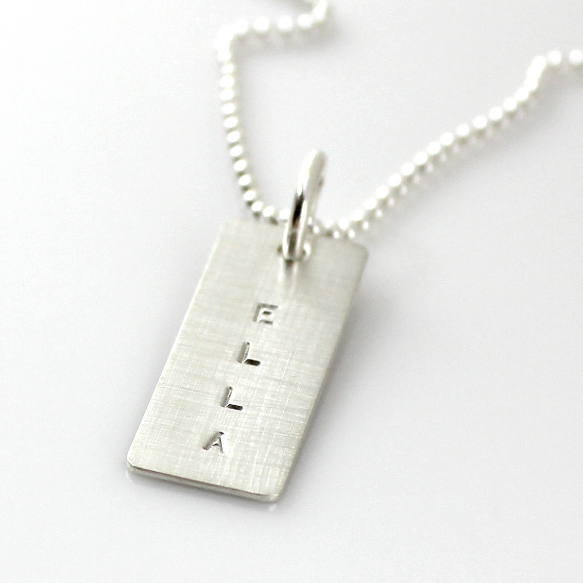Simple Name Tag Personalized Necklace - Silver