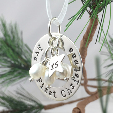 First Christmas Personalized Ornament with Pearls
