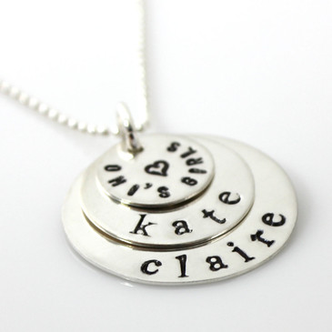 Sweet Stack Necklace | Three Discs | Lowercase Traditional Serif