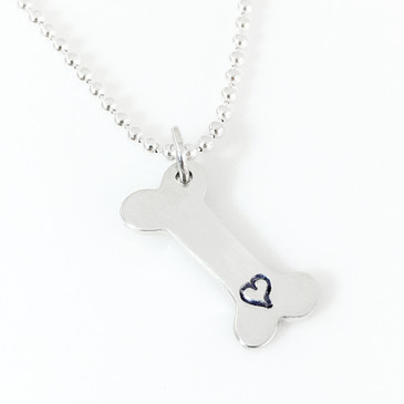 Dog Bone with Heart Simple Charm Necklace